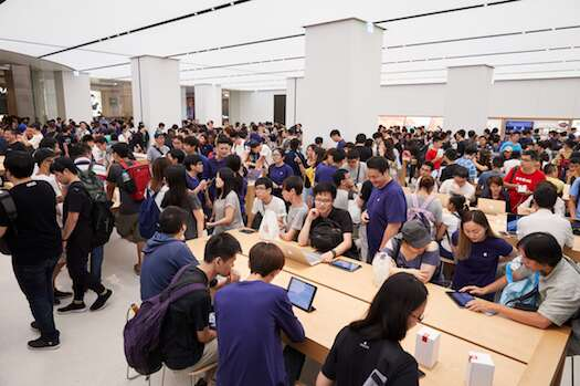 Apple welcomes customers to its first store in Taiwan in July. Photo courtesy: Apple