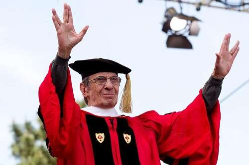Leonard Nimoy receives an honorary degree from Boston University in 2012. Source: Boston Globe.