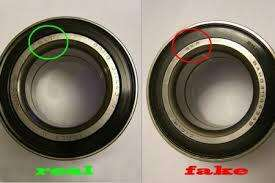 Here's a comparison between an authentic bearing and a counterfeit bearing.   (Source: thecounterfeitreport.com)