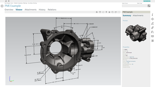 Active Workspace enables the user to view and investigate the 3D Product and Manufacturing Information model prior to selecting the part or assembly for reuse. (source: Siemens PLM)