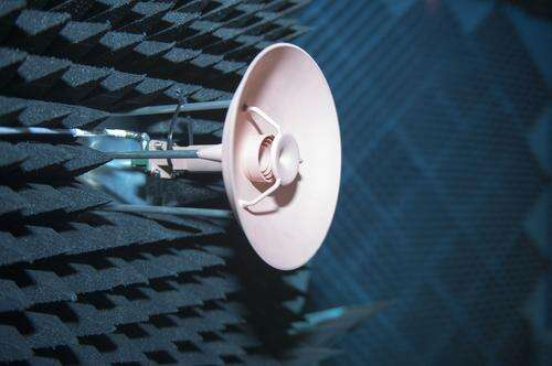 A prototype 3D-printed antenna being put to work in the European Space Agency's Compact Antenna Test Facility, a shielded chamber for antenna and radio-frequency testing.    (Source: European Space Agency)