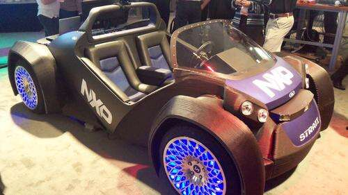 At the NXP FTF in Austin, TX this week, NXP showed off its BlueBox autonomous vehicle technology on a 3D-printed car built by Local Motors.   (Source: Design News)