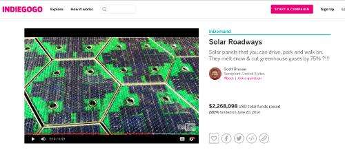 Solar Roadways, a successful Indiegogo looking to create energy-harvesting panels for roads, has already enjoyed support from Arrow.   (Source: Indiegogo)