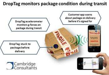 A $2.50 wireless device from Cambridge Consultants can  help identify where in transit a package was dropped and damaged.