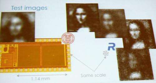 The image (top center) is the best Rambus delivered to date from an 80 micron device, but the company expects to double resolution with advanced math.