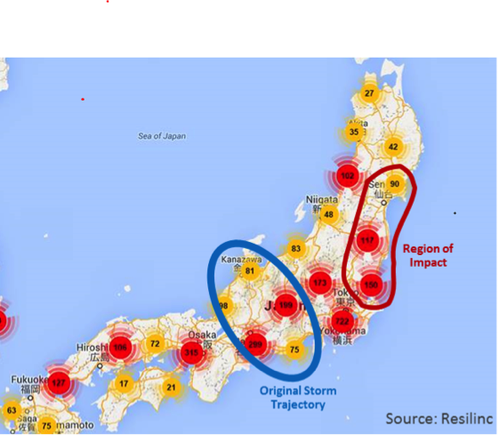 Caption Factory site clusters mapped to regions of Japan based on Resilinc global supplier repository intelligence.