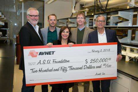 Members of the Avnet Innovation Lab Council presented a check February 2016. From left to right, Wade McDaniel, vice president of supply chain solutions, Avnet, Inc.; Dr. Cody Friesen, ASU Associate Professor and CEO of Zero Mass Water; MaryAnn Miller, senior vice president, chief human resources officer and corporate marketing & communications for Avnet, Inc.; Dr. Kyle Squires, Dean of Ira A. Fulton Schools of Engineering; and Kris Burgoon, vice president of marketing services, Avnet Electronics Marketing.