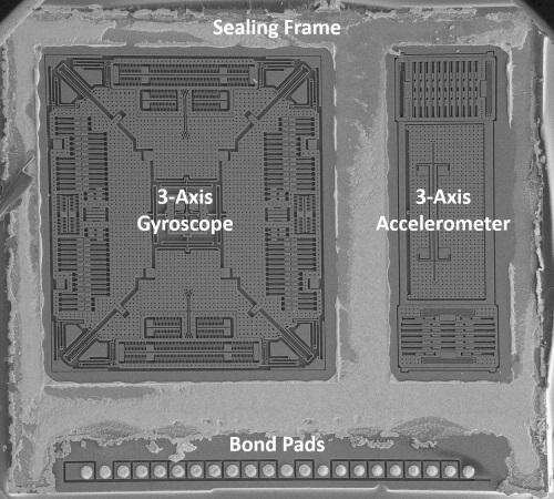 The accelero/gyro sensor in the STMicroelectronics LSM9DS0 nine-axis IMU.(Source: System Plus Consulting report from December 2013)