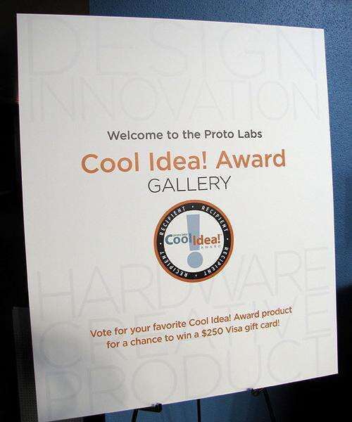 Proto Labs' Cool Idea! Award gallery at the Designers of Things conference in San Francisco. You can vote for your favorite innovation by attending the conference or demo hall. One of the voters will win a $250 Visagift card from Proto Labs.(Source: EETimes)