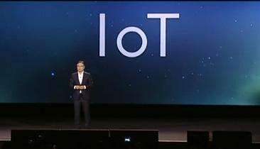 IoT looms large as Samsung CEO Boo-Keun Yoon gives his keynote address at the International Consumer Electronics Show (CES) in Las Vegas. (Source: Samsung's keynote video, YouTube)