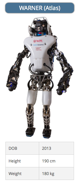Worcester Polytechnic Institute has teamed up with Carnegie Mellon University teams up on this modified version of Atlas by Boston Dynamics--the default robot given by DARPA to teams that did not want to design their own from scratch. (Source: DARPA)