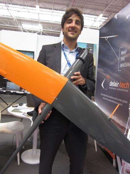 Delair-Tech's Benjamin Benharrosh with his company's DT18 drone