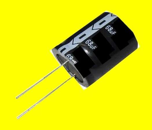 A typical radial-leaded aluminum electrolytic (AL-EL) capacitor.