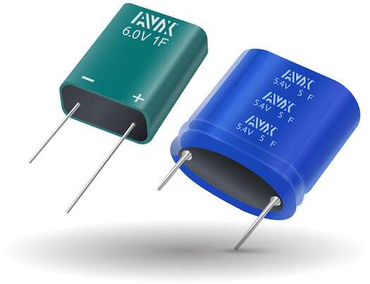 AVX SuperCap modules. Green modules have an epoxy filled housing that is resistant to moisture ingress, which can more than double the lifetime of a standard part. Blue modules are shrink-wrapped cylindrical supercaps in series, and are designed for higher voltage applications.